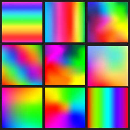 Set of rainbow mesh backgrounds. Illustration