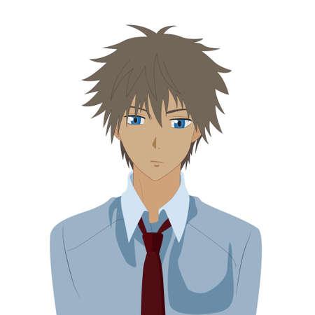 Pretty boy animé mâle dessin animé manga comique portrait. Vector illustration