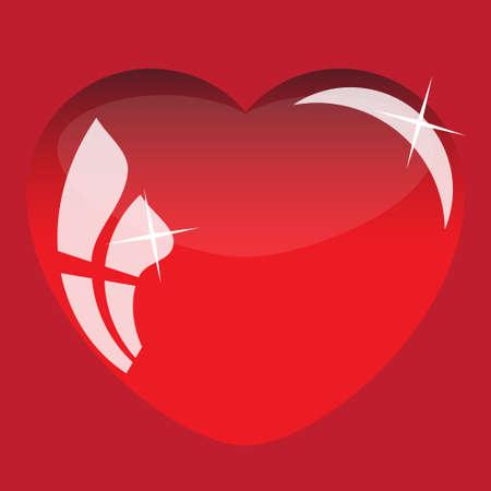 3d heart: 3D heart postcard background red color. Vector illustration