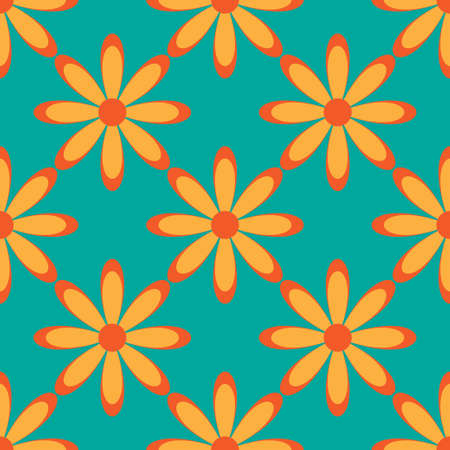 discrete: Flower seamless pattern bright colors. Vector illustration