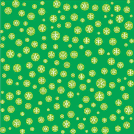 Seamless pattern with snowflakes on green background. Vector Illustration Illustration