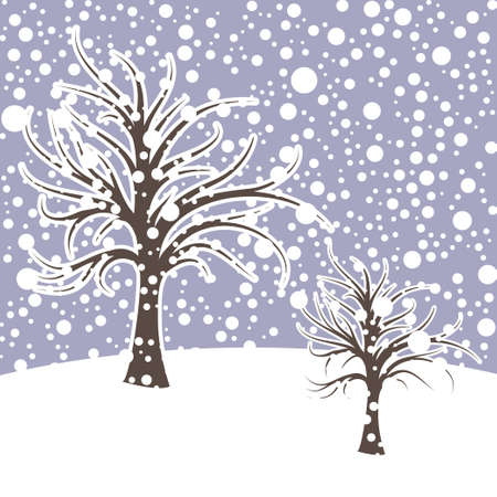 Winter season design landscape with snow. Vector illustration