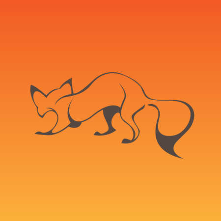 foxy: Fox sign in curve lines. Vector illustration