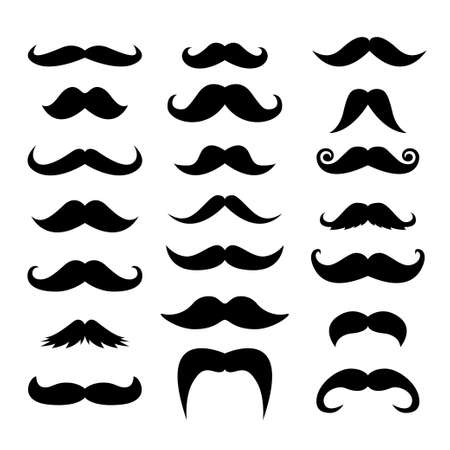 Set of men mustaches for design, photo booth vector illustration. Ilustração