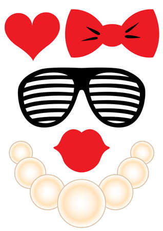 Party accessories set - glasses, necklace, lips Illustration