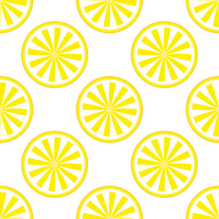 Lemon fruit pattern yellow and white. Vector illustration