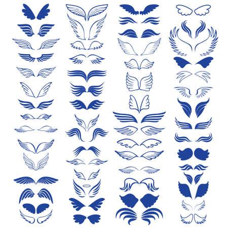 Engelvleugels schetsen grote set 60 objecten. Vector illustratie Stock Illustratie