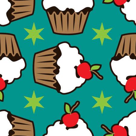 Cream vanilla choco cake seamless pattern Stock Photo - 88148143