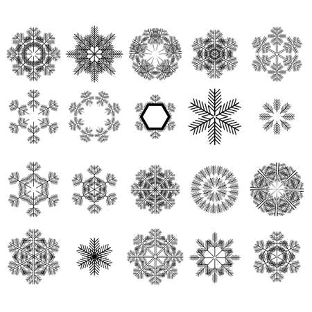 Set of different winter snowflakes on white background. Stock Vector - 88154008