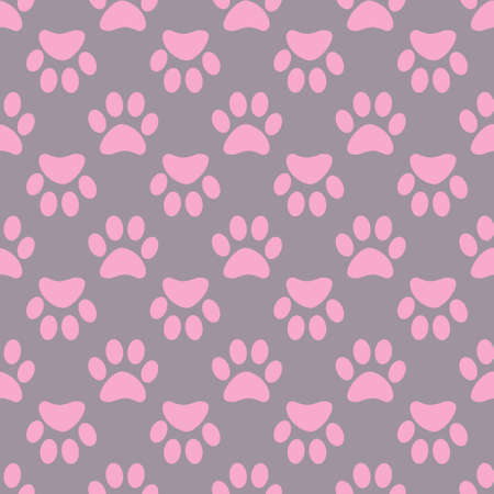 Animal paw seamless pink pattern on gray background. Stock Vector - 88176582