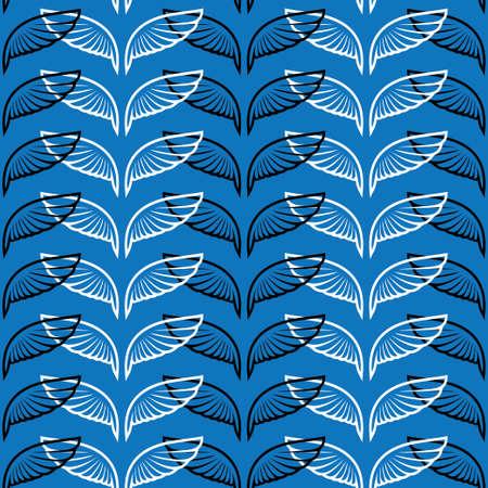Angel wings blue sketch seamless pattern vector illustration. Stock Vector - 88182172