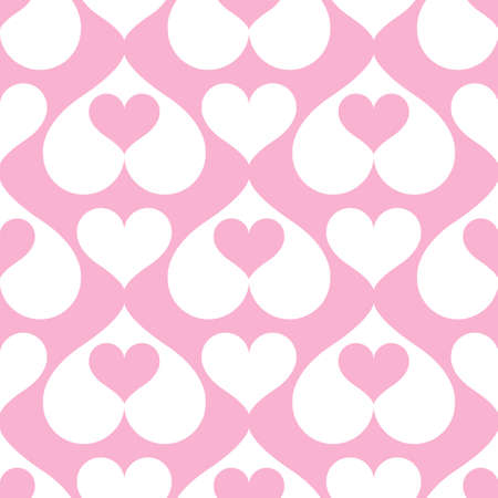 Pink hearts seamless background pattern. Vector illustration Stock Vector - 88184841