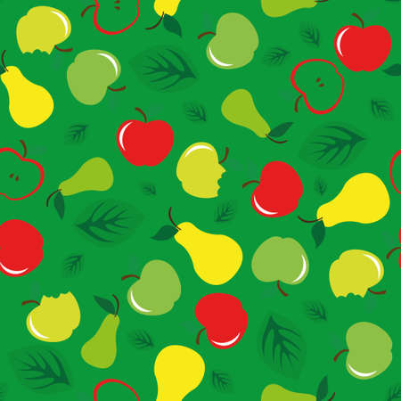 Apple and pear seamless pattern on green background Stock Vector - 88186221