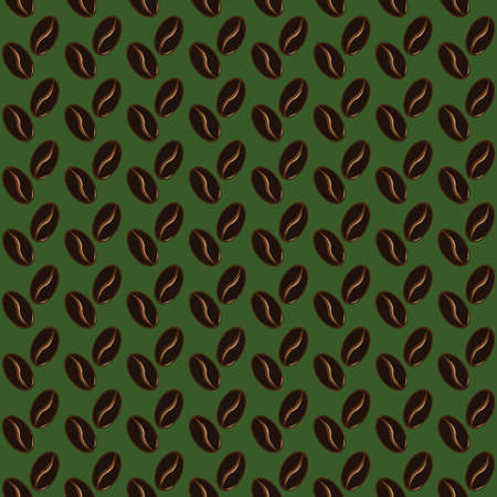 Abstract coffee beans pattern green background Illustration