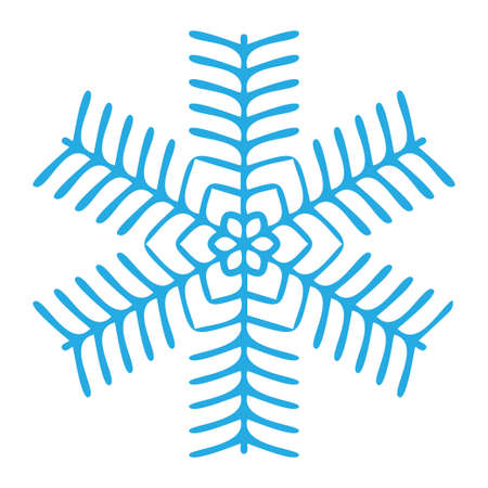 Snowflake winter blue symbol icon. Vector illustration graphic design