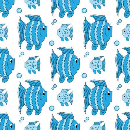 Blue funny fish pattern. Illustration