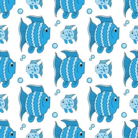 Blue funny fish pattern. Vectores