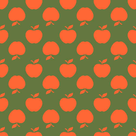 Apple green orange seamless pattern background. Vector illustration.