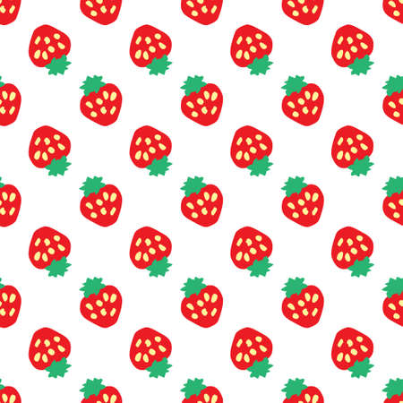 Abstract seamless white strawberry background. Vector illustration