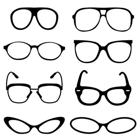 Glasses set on set background Vector illustration. Illustration