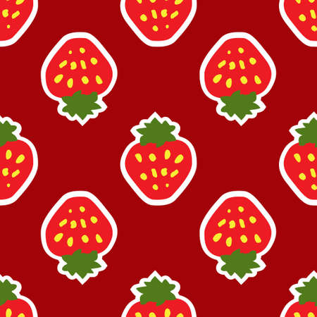 Abstract seamless red strawberry background Illustration