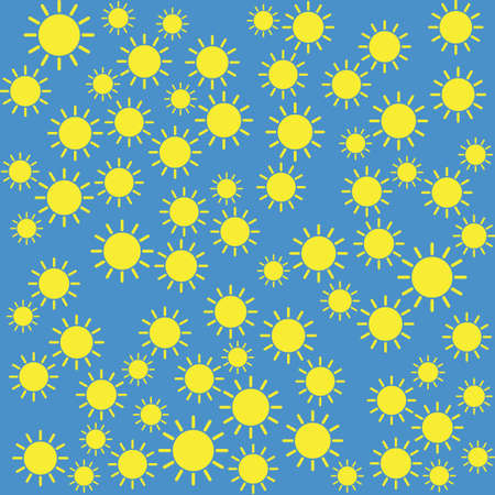 Yellow sun pattern on blue background. Illustration