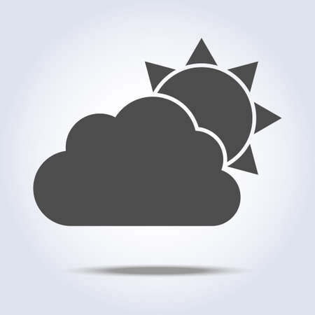 Sun and cloud gray weather icon