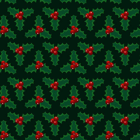 Christmas red green mistletoe seamless pattern. Vector illustration