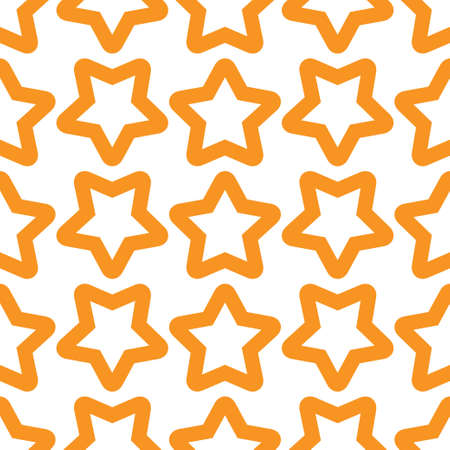 Seamless orange white pattern with stars. Vector illustration.