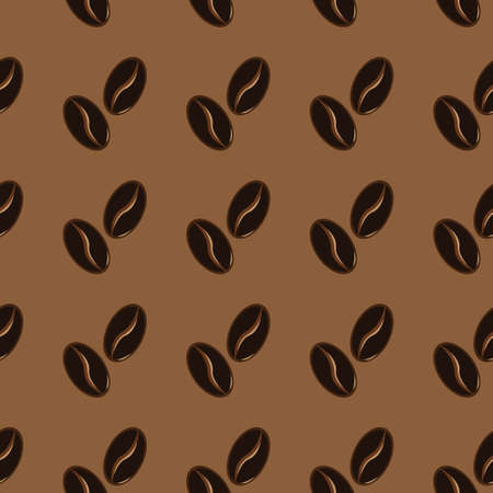 Abstract coffee beans pattern on brown background. Vector illustration