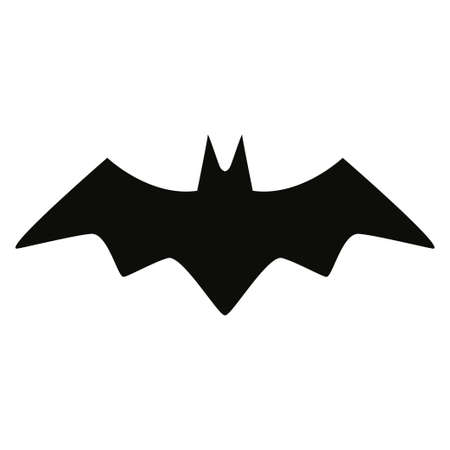 Bat black silhouette isolated icon illustration.