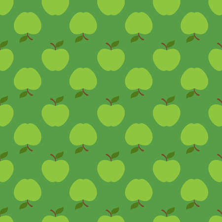 Apple green seamless pattern background. Vector illustration Illustration