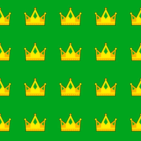 Seamless green crown pattern background. Vector illustration Illustration
