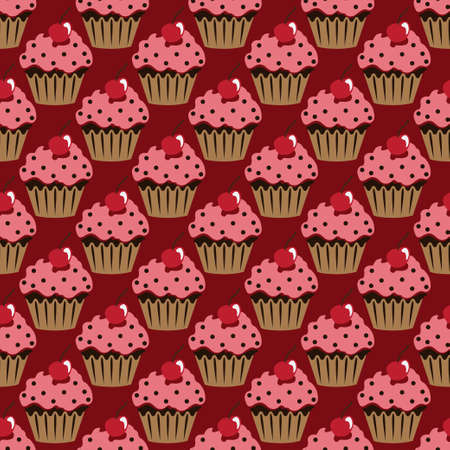 Cupcake vector pattern red background Illustration