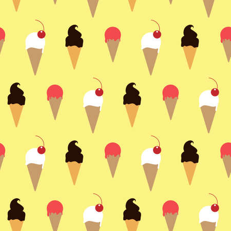Ice cream in wafer with topping yellow pattern Illustration