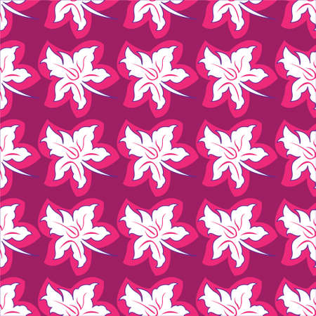 Flower seamless pattern bright pink colors. Vector illustration Illustration