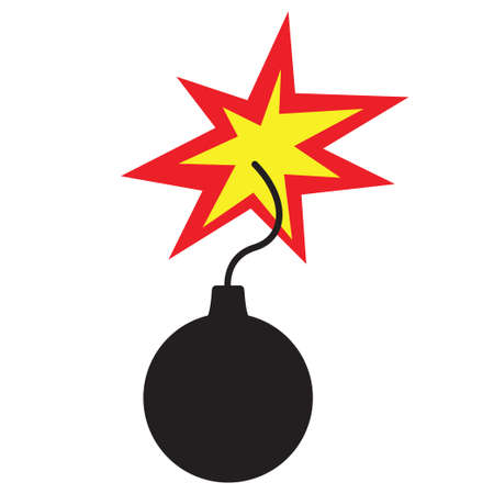 Bomb icon flat style isolated on white. Vector illustration