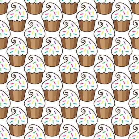 Cupcake vector pattern white background. Vector illustration
