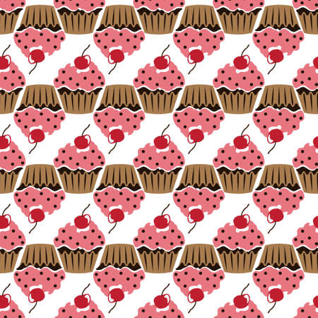 Pink cream cupcake with cherry seamless pattern