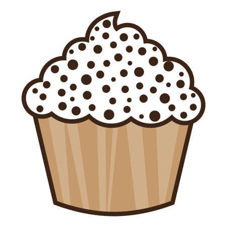White vanilla cream cupcake isolated. Vector illustration.