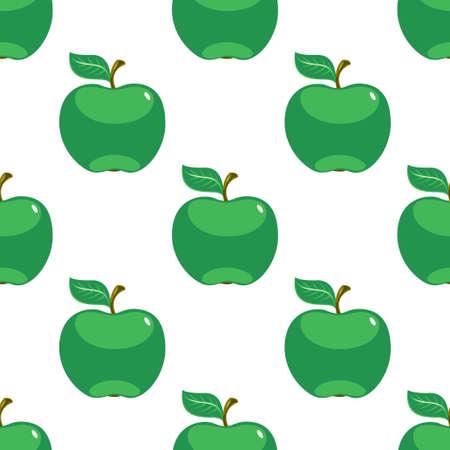 Apple green white seamless pattern background. Vector illustration