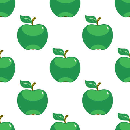 Apple green white seamless pattern background. Vector illustration