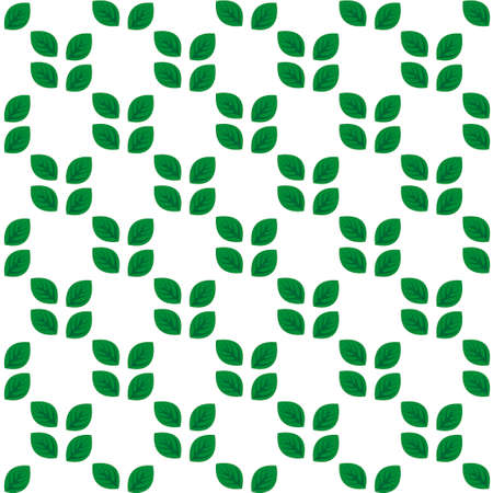 Seamless white pattern with green leaves. Vector illustration. Illustration