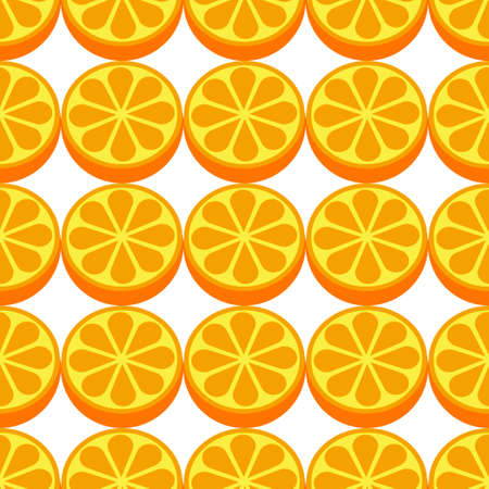 Orange fruit seamless white pattern