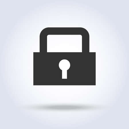 Closed lock icon Vector illustration isolated on white background.