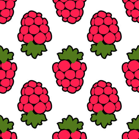 Seamless raspberry background white pink pattern