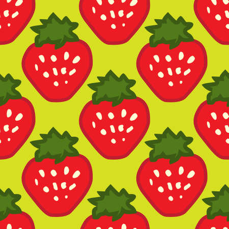 Abstract seamless red green strawberry background Illustration