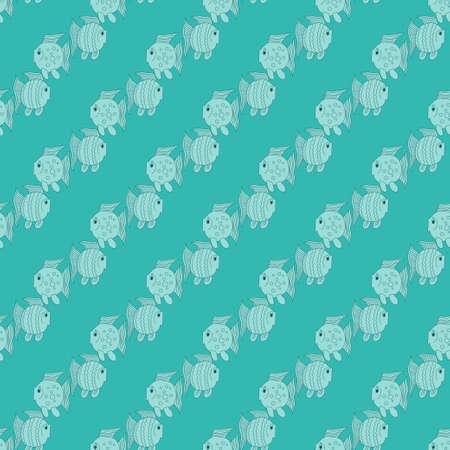 Blue funny fish seamless pattern