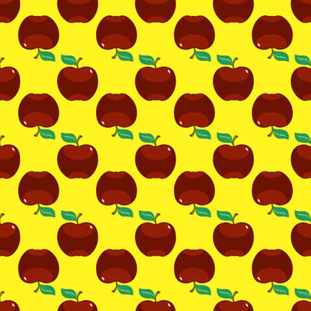 red apples on yellow background seamless pattern vector illustration.