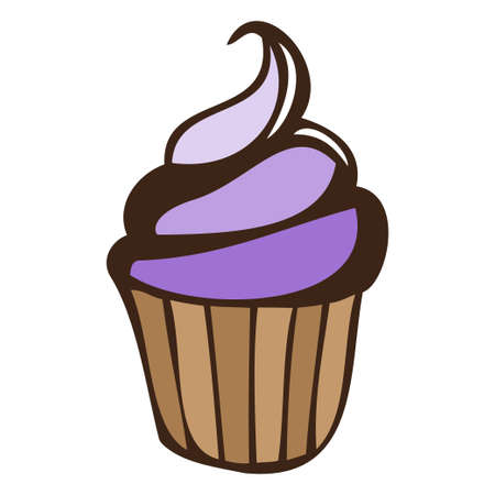 Lilac blueberry cream cupcake isolated Vector illustration. Illustration